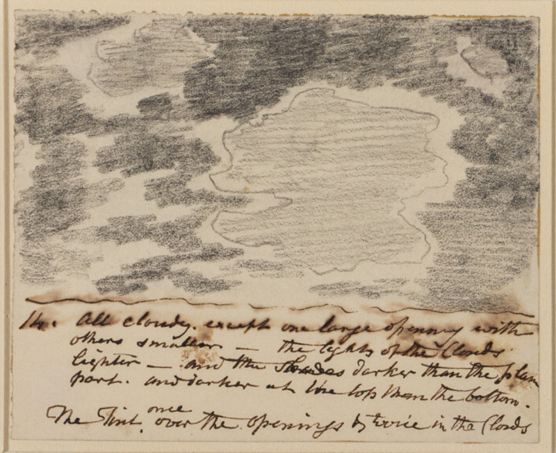 "John Constable (1776-1837). ""1 h. All Cloudy. except one large opening with others smaller [...]"" potlood en pen op papier, c. 1822"
